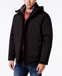 Izod Men's Systems Soft Shell Hooded Jacket Black Charcoal