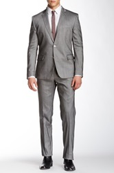 Versace Argento Sharkskin Two Button Peak Lapel Trend Suit Gray