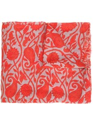 Closed Leaves Print Scarf Red