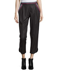 See By Chloe Mid Rise Striped Trim Cropped Pants Black