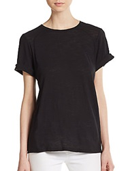 Vince Rolled Sleeve Cotton Tee Black