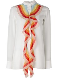 Chloe Rainbow Ruffle Detail Blouse White