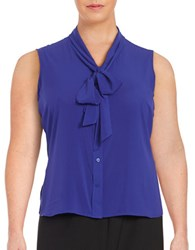 Calvin Klein Plus Self Tie Button Down Blouse Blue