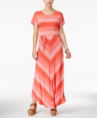 Tommy Hilfiger Bridgette Chevron Print Maxi Dress Coral Multi