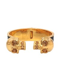 Alexander Mcqueen Two Skull Leather Metal Bracelet
