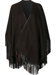 Sofia Cashmere Fringed Cape Brown