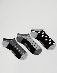 Penguin Pengiun 3 Pack Trainer Socks Black White