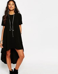 Glamorous Hi Low Hem T Shirt Maxi Dress Black