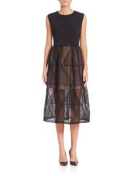 Aquilano Rimondi Geometric Lace Skirt Long Dress Black