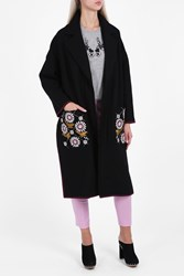 Markus Lupfer Chiara Embroidered Blanket Coat Black