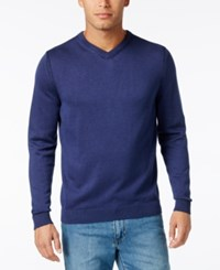 Tommy Bahama Men's V Neck Ribbed Trim Sweater Blue Note