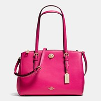 Coach Turnlock Carryall 29 In Crossgrain Leather Light Gold Cerise