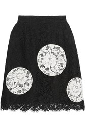 Dolce And Gabbana Appliqu And Eacuted Cotton Blend Lace Mini Skirt Black