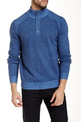 Toscano Button Mock Sweater Blue