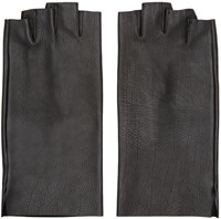 Attachment Black Leather Fingertip Gloves