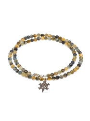 Catherine Michiels Beaded Turtle Necklace Green
