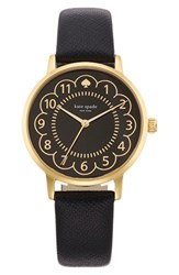 Women's Kate Spade New York 'Metro' Scalloped Dial Leather Strap Watch 34Mm Black Gold