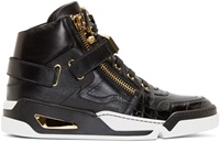 Versace Black Chain Strap High Top Sneakers