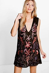 Boohoo Amra Beaded And Embroidered Shift Dress Black