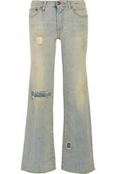 R 13 The Jane Distressed Wide Leg Jeans Blue