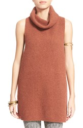Free People 'Need It Now' Turtleneck Pullover Sweater Vest Burnt Carmel