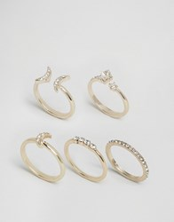 Lipsy Ariana Grande Moon And Star Multipack Rings Silver