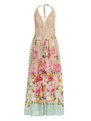 Emamo Floral And Butterfly Print Silk Maxi Dress