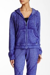 Betsey Johnson Acid Wash Zip Hoodie Blue