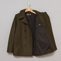 Gloverall 2 Pocket Big Button Reefer Khaki Oi Polloi