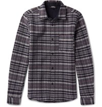A.P.C. Slim Fit Trevor Checked Wool Blend Overshirt Gray
