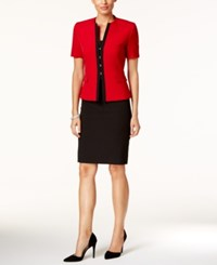 Tahari By Arthur S. Levine Asl Colorblocked Skirt Suit Red Black
