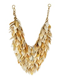 Ashley Pittman Tanzu Light Horn Layered Chain Leaf Necklace
