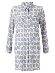 East Pineapple Print Long Shirt Blue