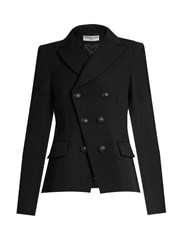 Balenciaga Notch Lapel Double Breasted Blazer Black