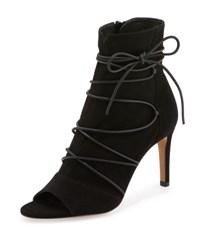 Vince Adisa Lace Up Open Toe Ankle Boot Black