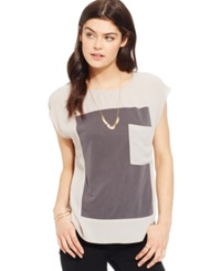 Suede Juniors' Colorblocked High Low Pocket Tee Porpoise