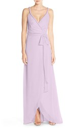 Women's Ceremony By Joanna August 'Parker' Twist Strap Chiffon Wrap Gown Moondance