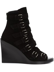 Ann Demeulemeester Strappy Open Toe Boots Black