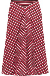 Altuzarra Striped Silk Crepe De Chine Skirt Claret Red