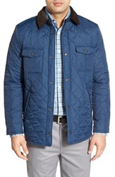 Men's Nordstrom Men's Shop Regular Fit Quilted Nylon Shirt Jacket Navy Peacoat
