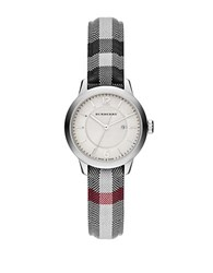 Burberry Ladies Stainless Steel Jacquard Strap Watch Silver