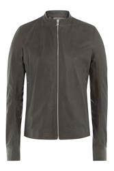 Rick Owens Men Leather Jacket Grey
