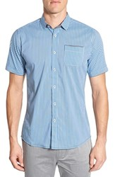 Men's Descendant Of Thieves 'Shades Of Blue' Trim Fit Short Sleeve Check Woven Shirt