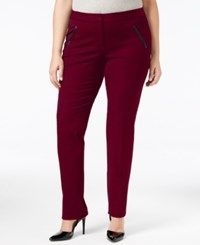 Alfani Plus Size Faux Leather Trim Tapered Leg Pants Only At Macy's Maroon