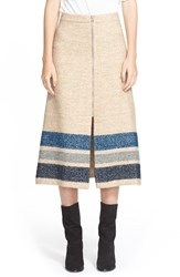 Women's Sea Stripe Silk And Wool Midi Skirt