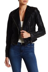 Bnci By Blanc Noir Asymmetrical Zip Crop Faux Leather Jacket Black