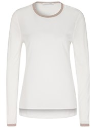 Oui Silk Effect Front Top White Camel