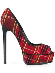 Casadei Peep Toe Checked Pumps Red