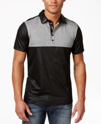 Guess Men's Mason Jersey Colorblocked Polo Jet Black Multi