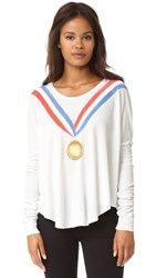 Wildfox Couture Gold Medal Long Sleeve Tee Vintage Lace